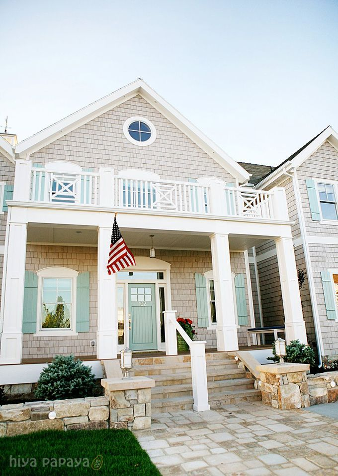 Teal doors shutters with white trim and cedar shake siding love home sweet home - The shutter clad house ...