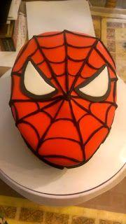 Spiderman mask cake! Fondant. Boy's birthday cake.