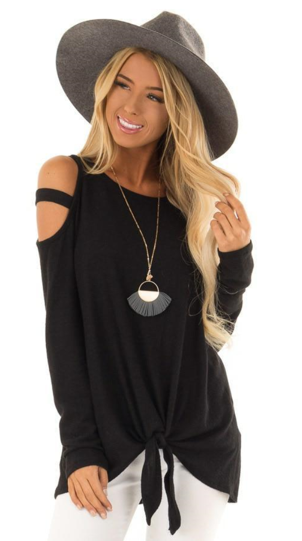 05f1f61641c1fe Cold Shoulder Bow Knot T-Shirt in 2019