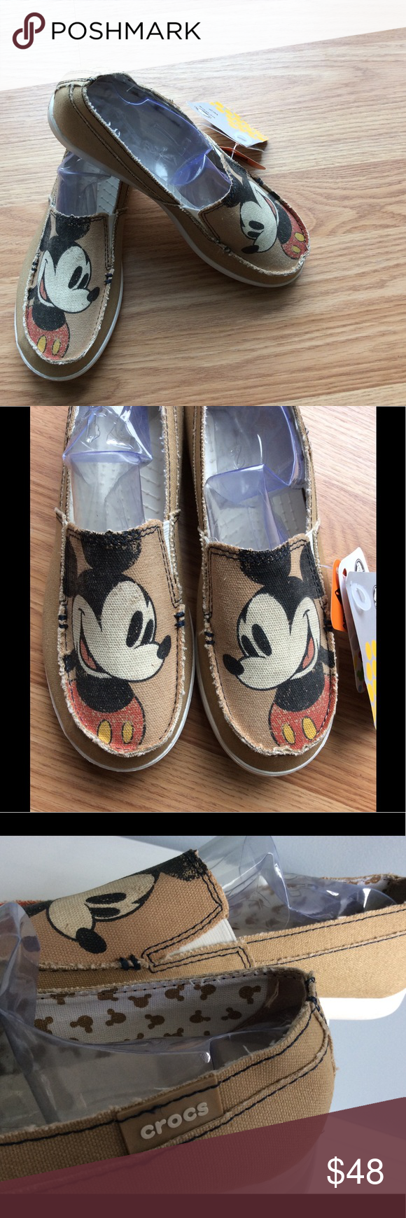 super cute skate shoes quality products Rare Mickey Mouse Women's Crocs Canvas Slip On Brand New With Tag ...