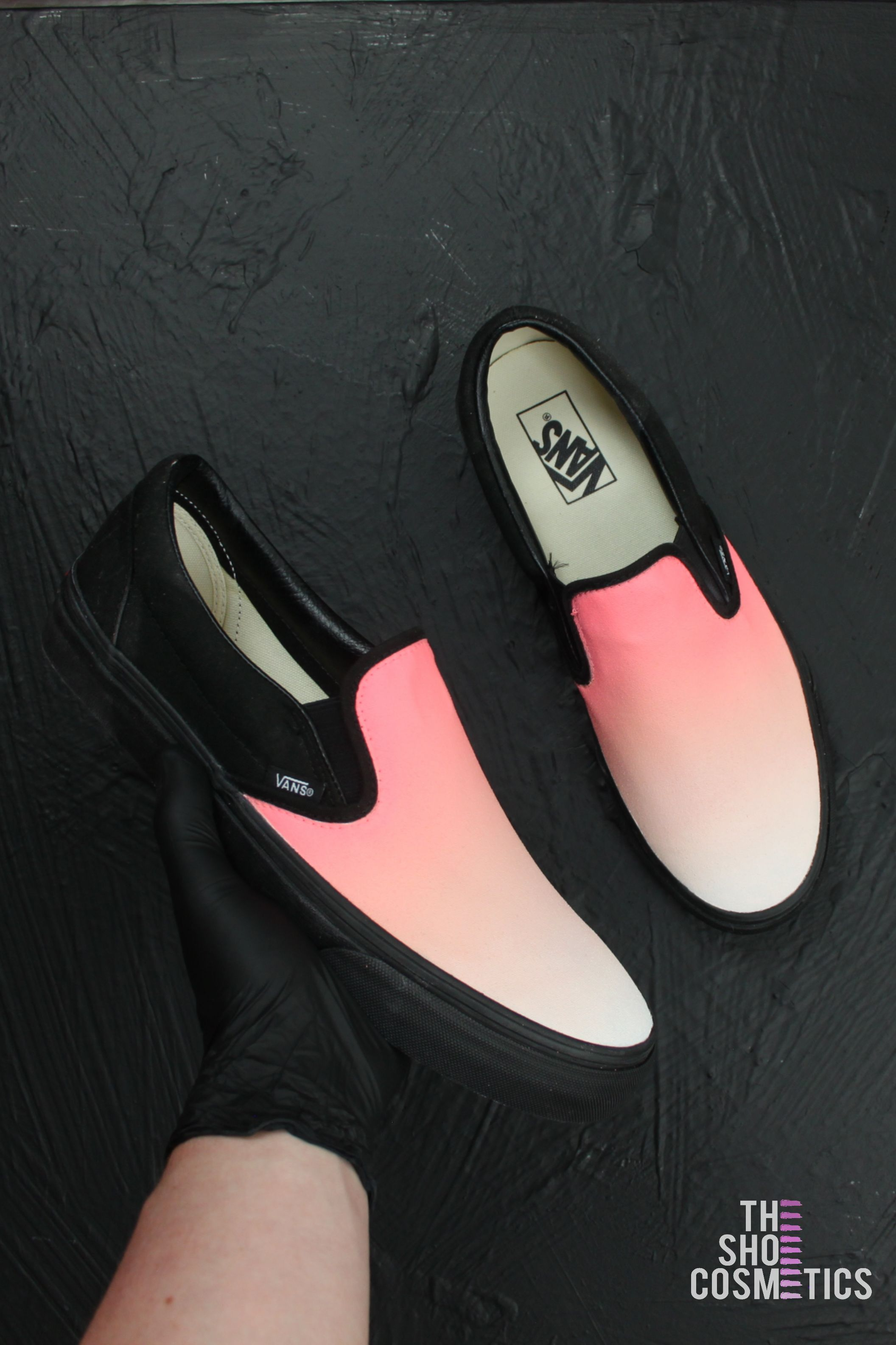 ef4b008829bc3 Explore our custom vans slip on. Love hand painted vans shoes  Then these  Pink Sunset ombre custom sneakers are perfect for you.