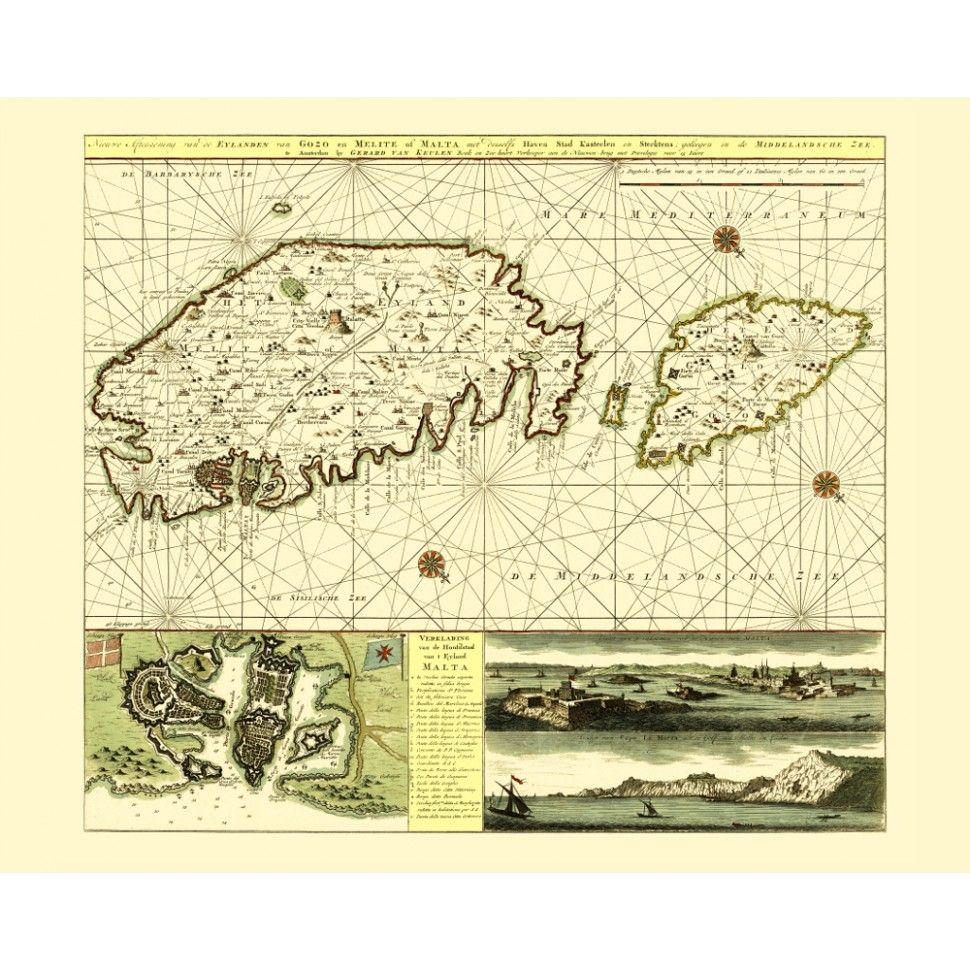 Old map print of Malta - vintage print for wall decoration. Handmade ...