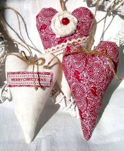 #Christmas tree fabric #heart #ornaments decorations ToniK Ðℯck Ʈհe HÅĿĿs #DIY #crafts rustic etsy.com