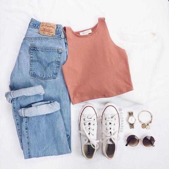 Mom Jeans und Converse All Star White - Summer Ide