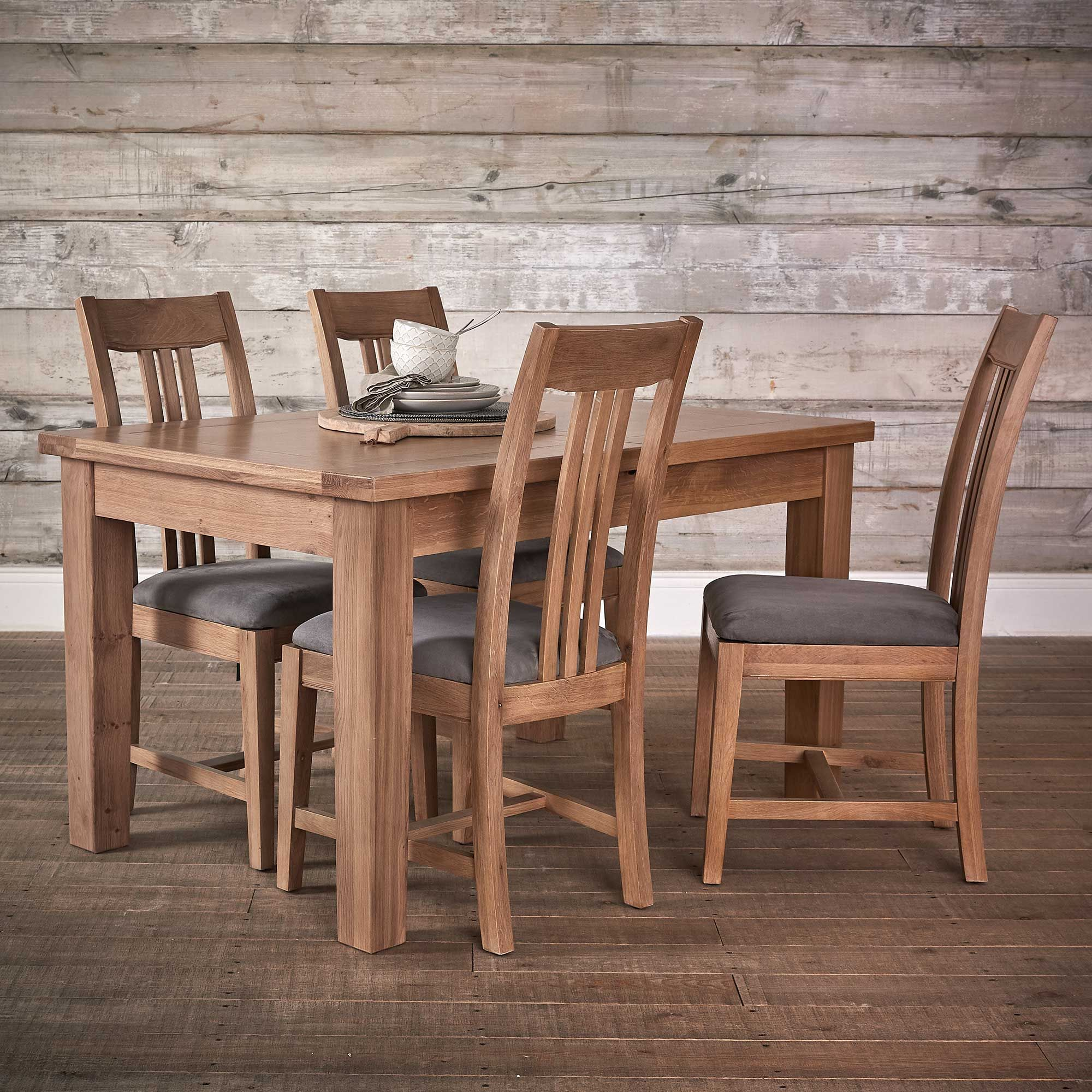 Ripley Large Extending Dining Table and 4 Oak Dining Chairs with Upholstered Seats, Washed Oak and Grey | Occasional Tables | Dining Room