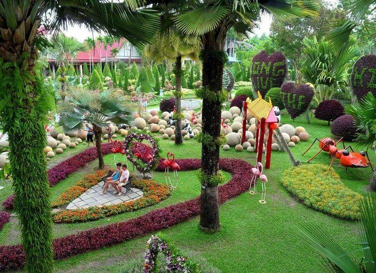 idée de génie jardin original : jardin avec palmiers, parterres en ...