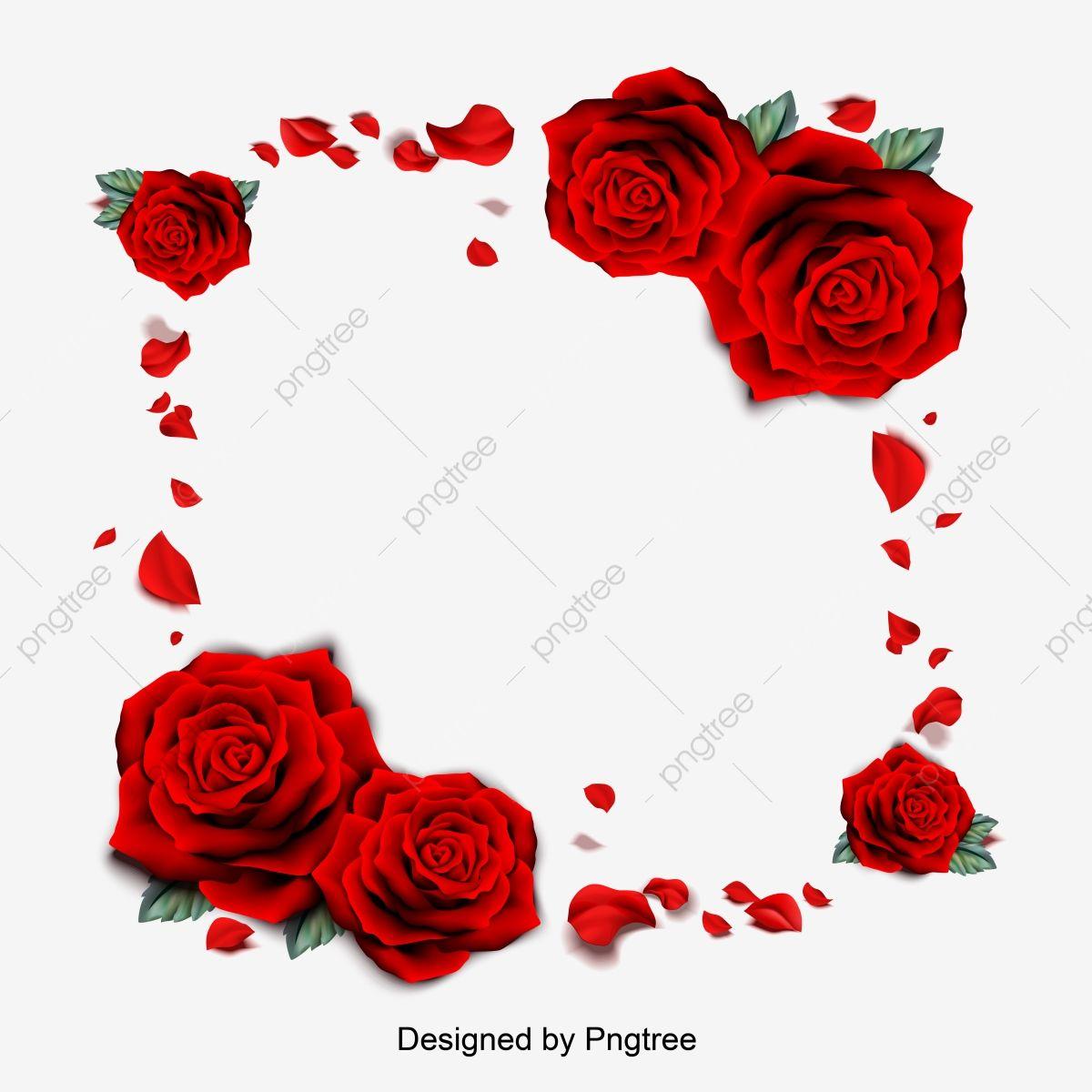 Vector Illustration Of Red Rose Petal Borders Romantic Valentines Day Borders Flower Border Clipart Valentines Day Romantic Png And Vector With Transparent B Valentines Day Border Red Rose Petals Happy Valentines