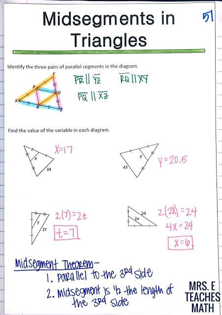 Relationships In Triangles Inb Pages Mrs E Teaches Math With