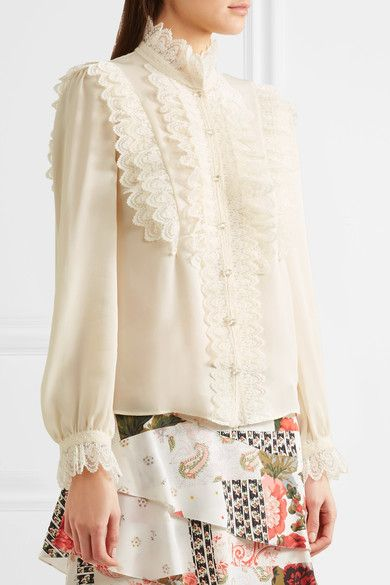878712e34eb53 Vilshenko - Ramona Ruffled Lace-trimmed Silk-georgette Blouse - Cream - UK12