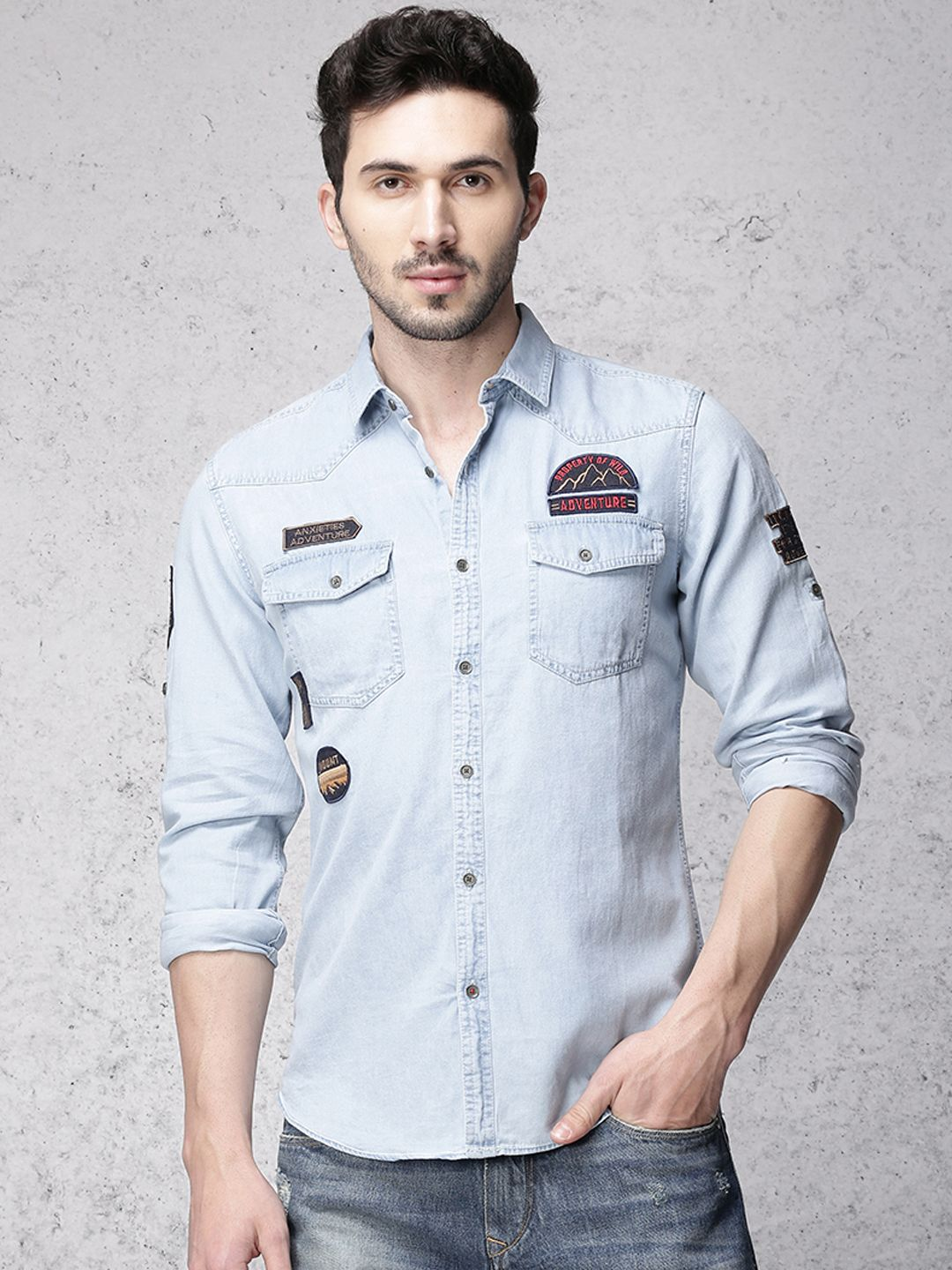 c3a9f4573e Ice washed denim shirt - Ecko Unltd India