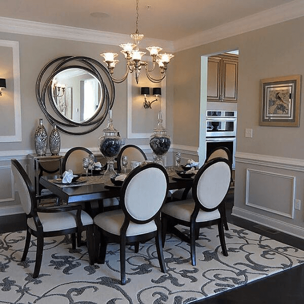 Large round mirror dining room wall | Contemporary dining ...