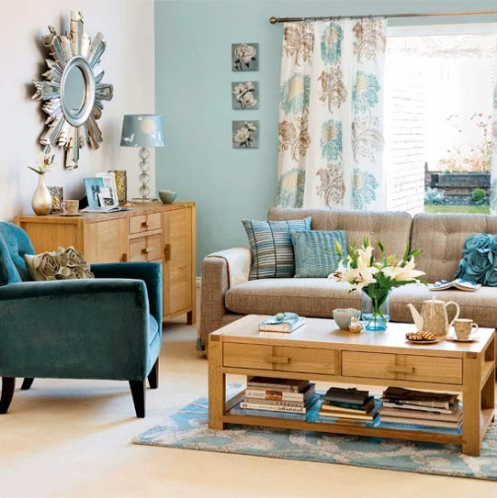 Duck egg and cream scheme with lots of natural wood home - Blue and brown living room furniture ...