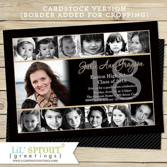 12 Photo School Graduation Announcement Senior Collage Invitation