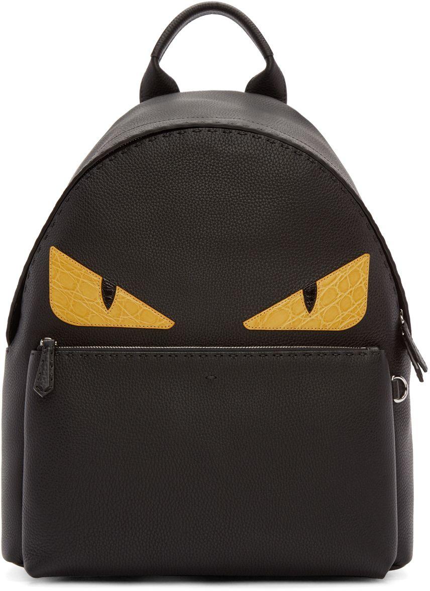 4f8e9da26d66 Fendi  Black Leather Monster Eyes Backpack