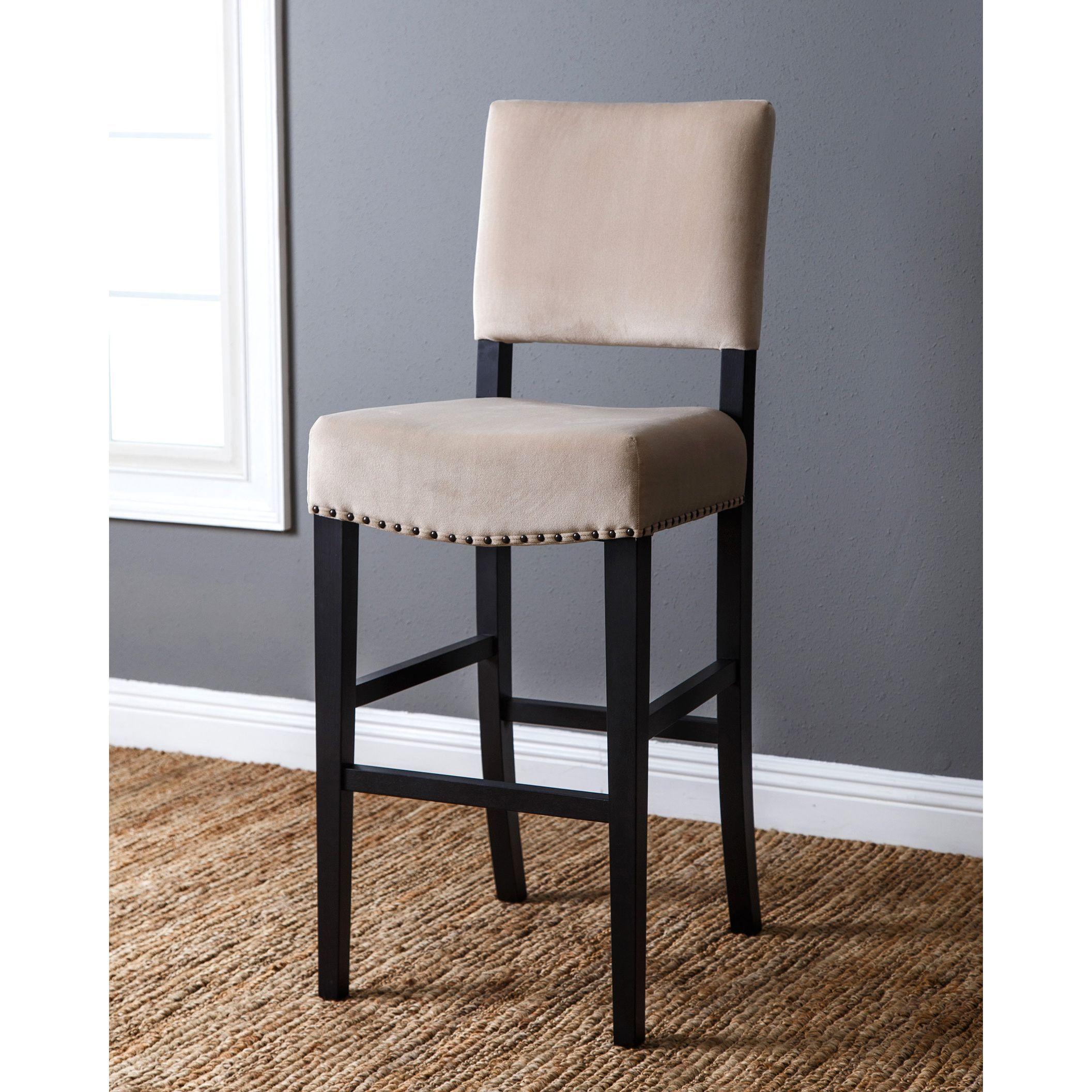 Wondrous Abbyson Crystal 30 Inch Ivory Velvet Fabric Bar Stool Babe Spiritservingveterans Wood Chair Design Ideas Spiritservingveteransorg