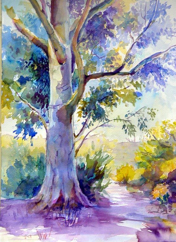 Springtime In The Forest In 2020 Tree Watercolor Painting Tree