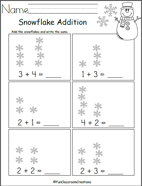 Add The Snowflakes - Made By Teachers Winter Math Worksheets,  Kindergarten Math Worksheets Addition, Math Centers Kindergarten