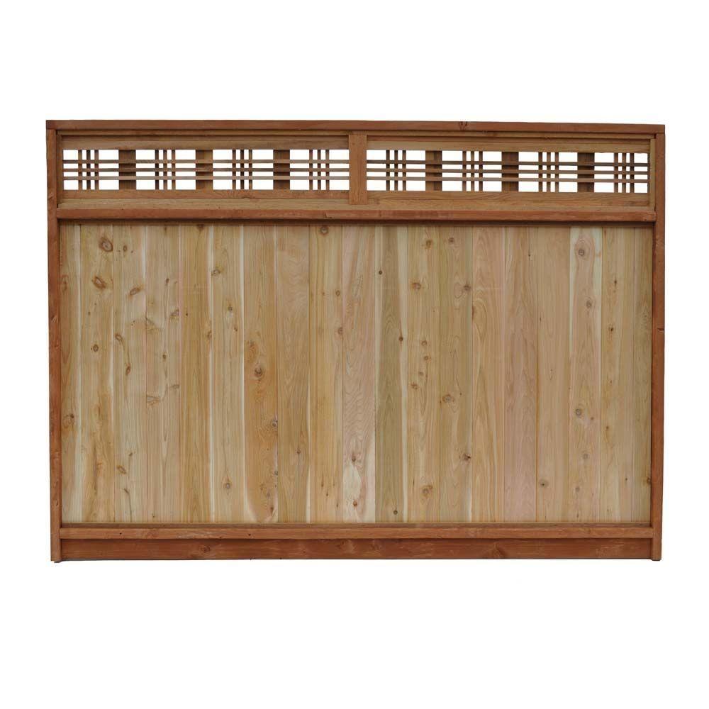 6 ft x 8 ft western red cedar horizontal lattice top fence panel