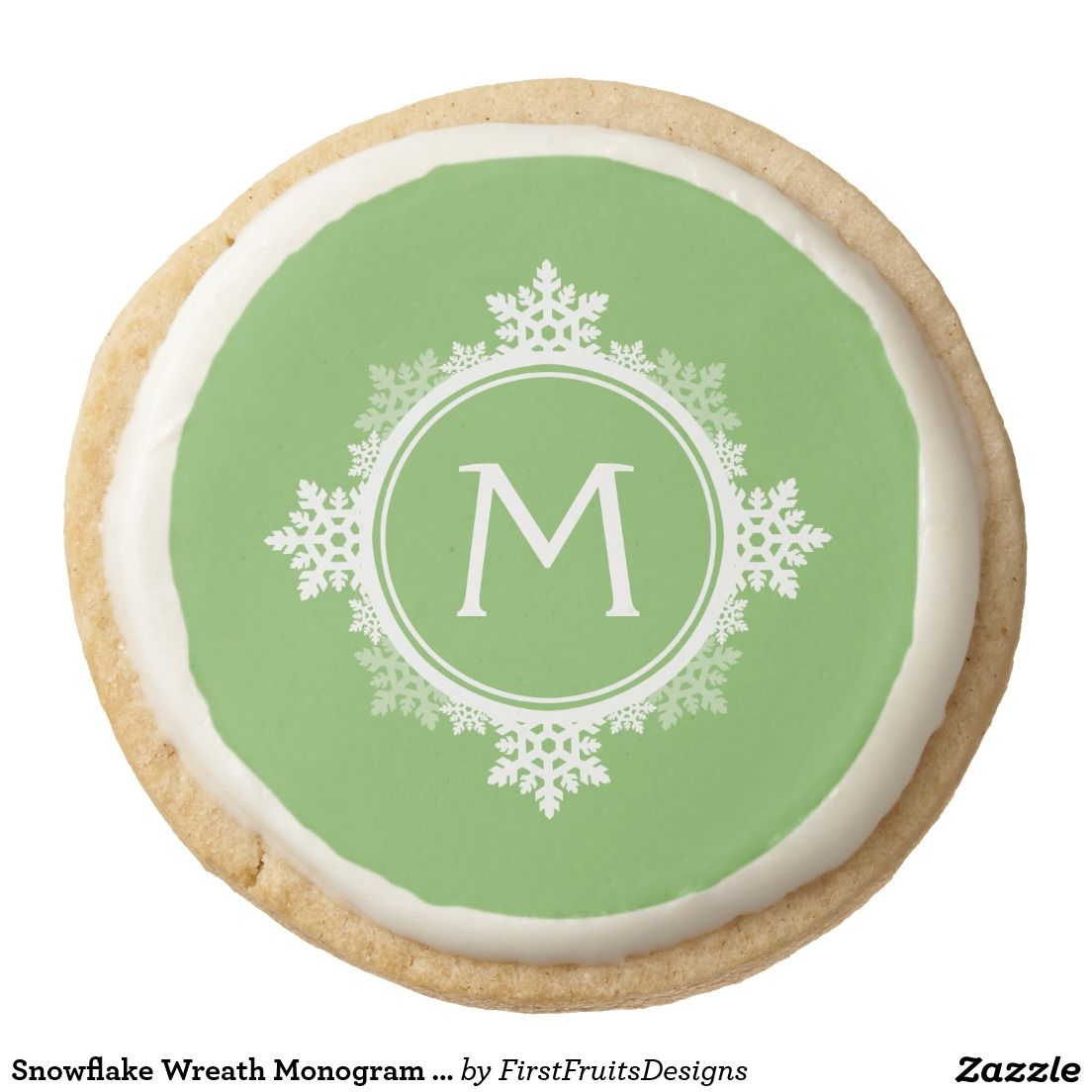 Snowflake Wreath Monogram in Lime Green & White Round Shortbread Cookie