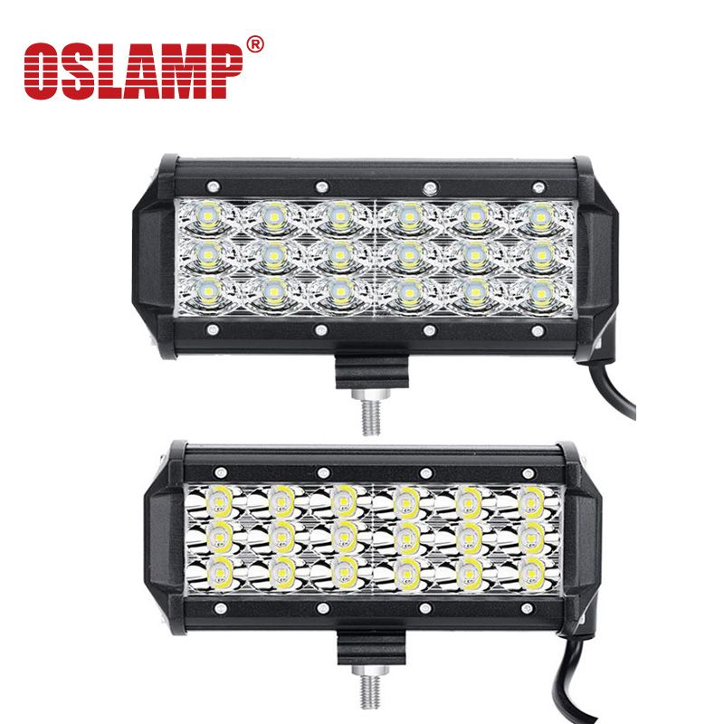 Oslamp 72w 7 Flood Spot Beam 6d 3 Row Led Work Light Bar Offroad 12v 24v 4x4 4wd Led Fog Lamp Truck Motorcycle Van Tra Led Work Light Bar Lighting Work Lights