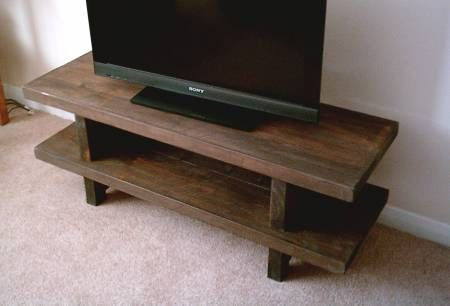 Hand Made Rustic Widescreen Tv Stand Solid Wood Stained In