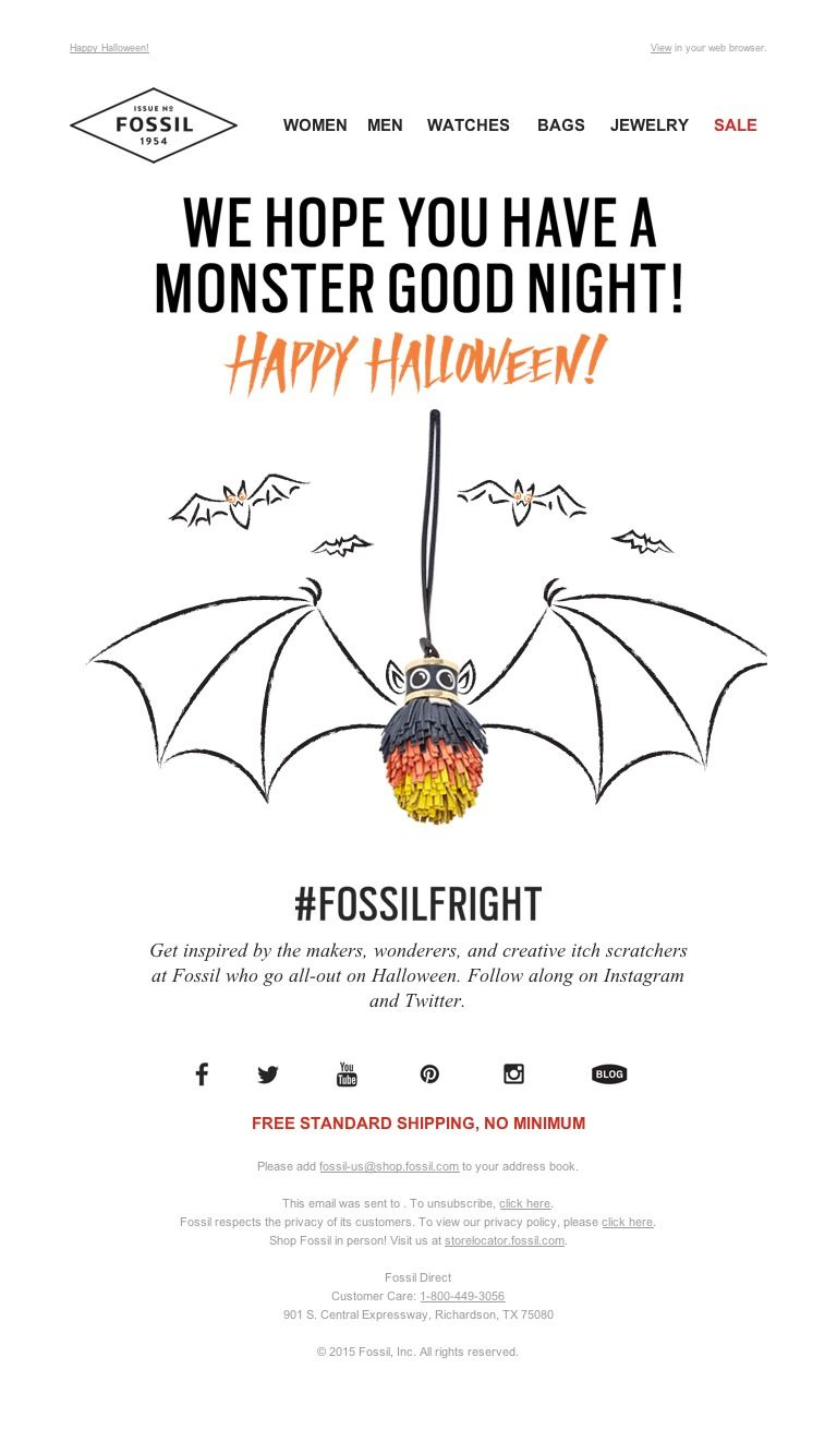 Fossil A Little Boo From Us To You Email Marketing Inspiration Email Design Mailer Design