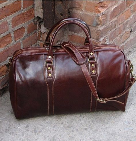 e9ec31c3541f Cenzo Duffle Vecchio Brown Italian Leather Weekender Travel Bag for 3rd  annivery gift
