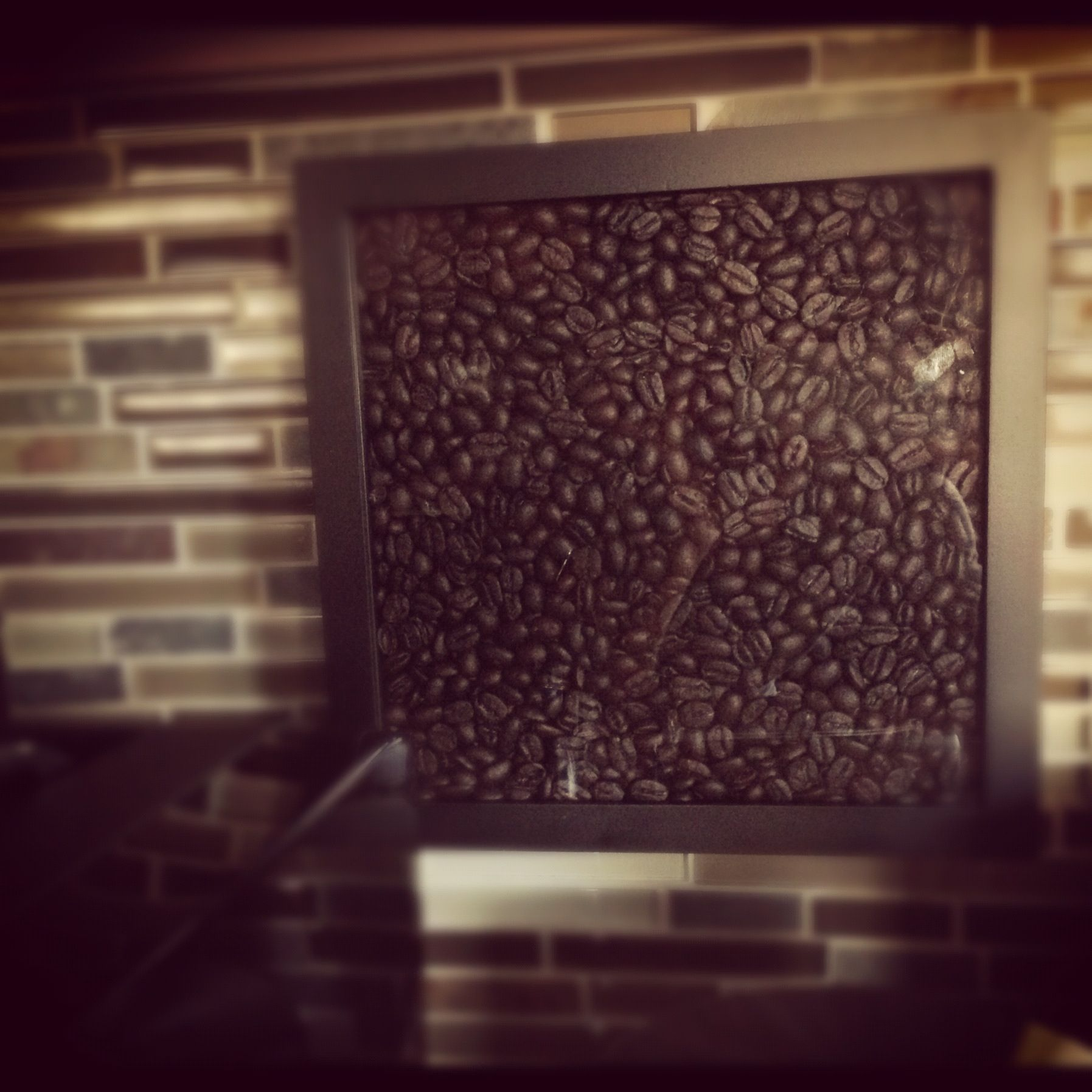 Coffee Themed Decorating Ideas Part - 43: Coffee Theme Decor... Shadow Box Frame And Coffee Beans, Iu0027d