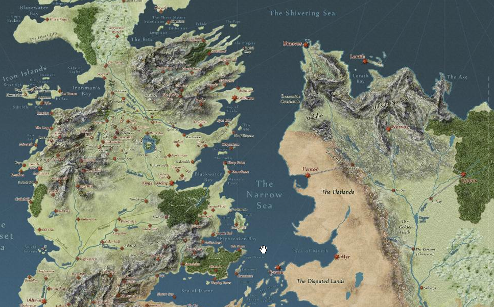 Game Of Thrones Interactive Story Map Of Westeros 5 Things I