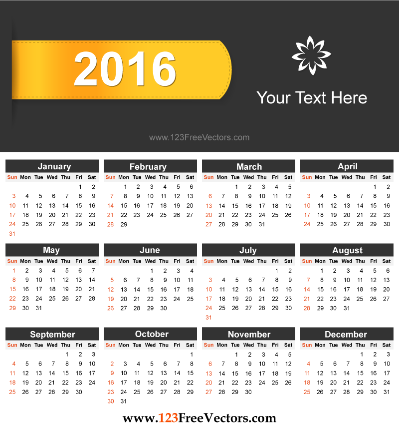 Free Download Printable 2016 Calendar Design Template Vector ...