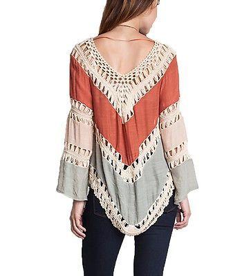 Umgee Usa Boho Chic Top óxido mezcla de algodón mezcla Crochet túnica Top Talla S-m-l