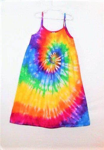 2d3064243fa Rainbow Tie Dye Sundress   Girls size 12   Tweens dress   Rainbow spiral    Hippy kid   Sleeveless   Spaghetti straps   Empire waist   SD12 by ...
