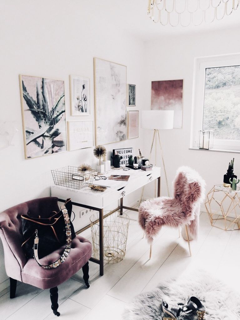 Glam Office Chic Pink Mauve Gold And White