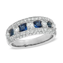 1 CT. T.W. Diamond and Sapphire Band in 14K White Gold - Clearance - Zales