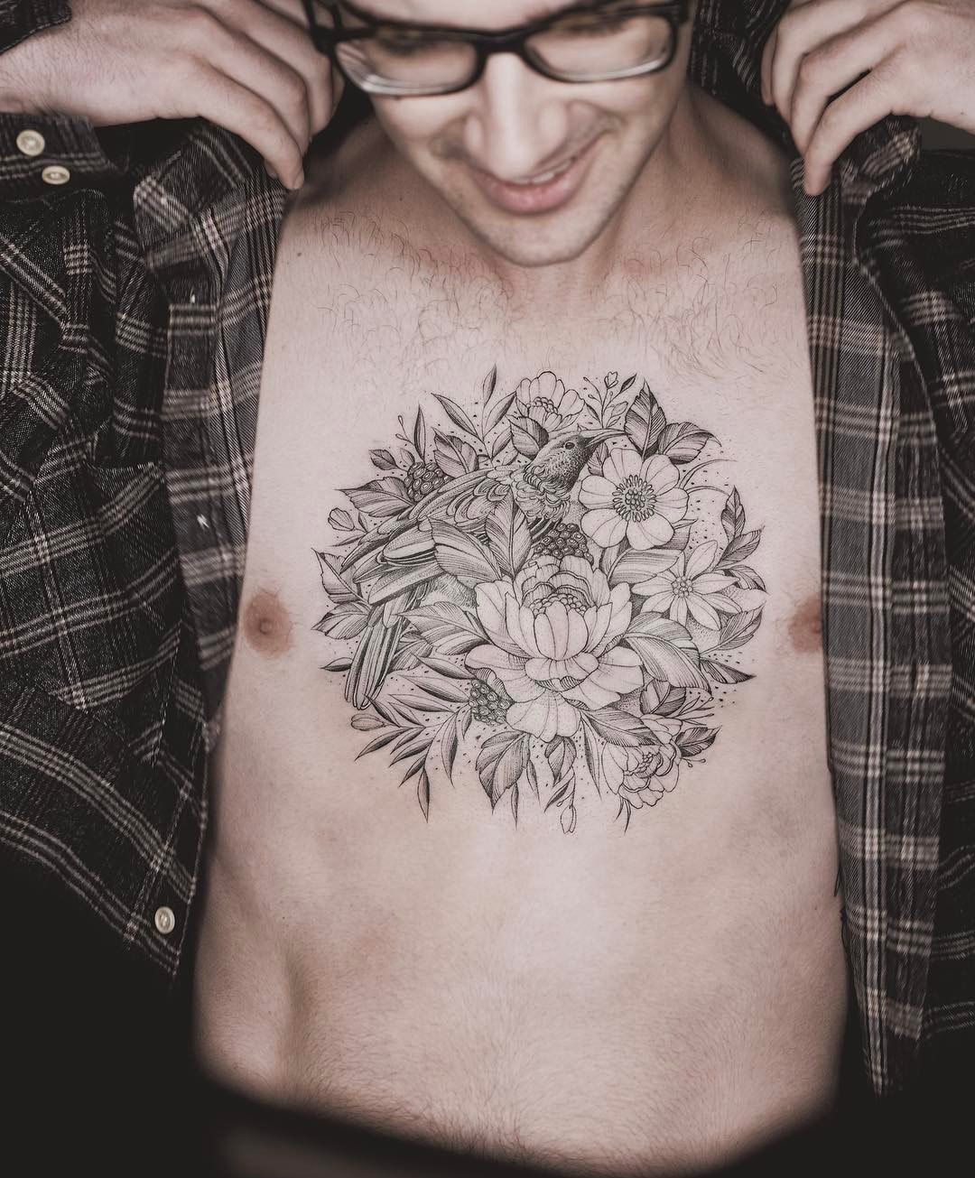 Floral Chest Tattoo Tattoos for guys, Cool chest tattoos