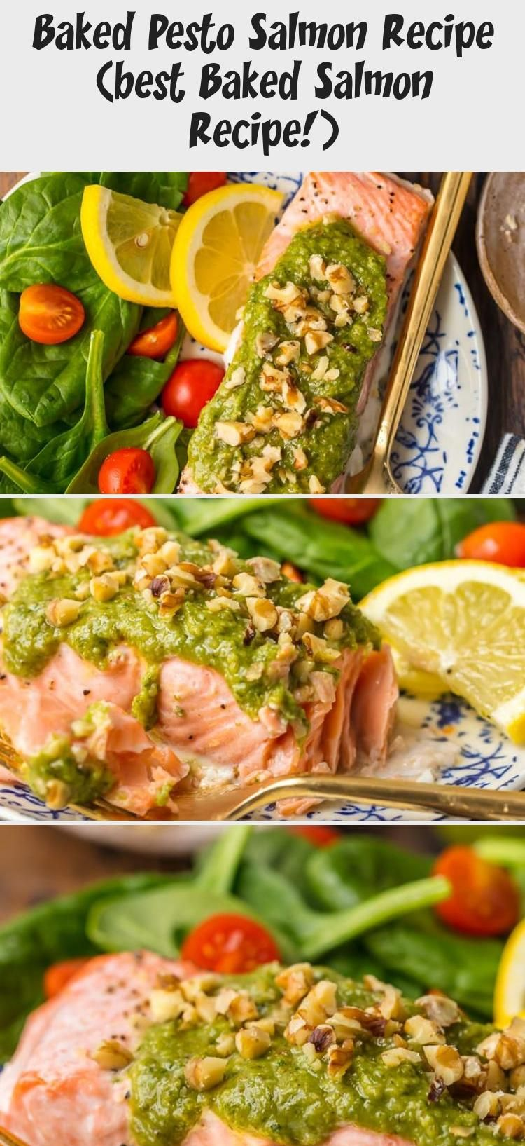Photo of This Baked Pesto Salmon recipe is our favorite simple yet elegant seafood dinner…
