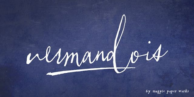 Vermandois - gorgeous calligraphy font!  http://www.myfonts.com/fonts/magpiepaperworks/vermandois/?refby=paperdahlia