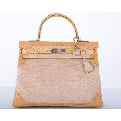 b60f271fed2 Hermes Limited Edition 35cm Tri Exotic Grand Marriage Alligator Kelly Bag  with Gold Hardware.  84