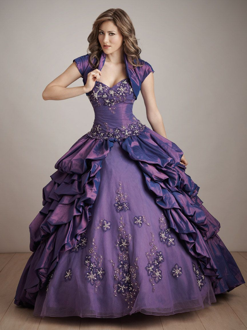 Ball Gown Purple Strapless Sweetheart Layered Embroidery Drape Prom Dress With Applique Masquerade Ball Gowns Gowns Dresses Ball Gown Dresses [ 1152 x 864 Pixel ]