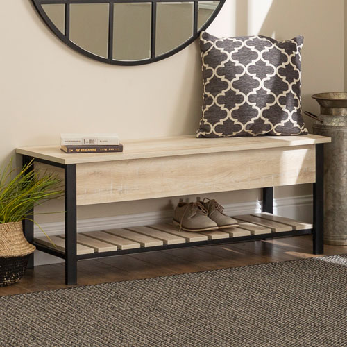 48-Inch Open-Top Storage Bench with Shoe Shelf - W