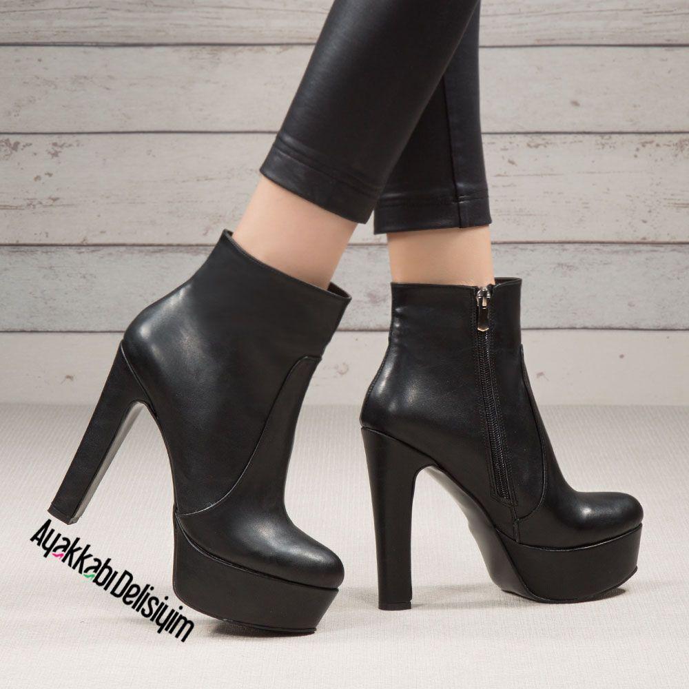 Borinas Siyah Deri Kalin Topuklu Platform Bot Topuklular Bayan Ayakkabi Siyah Yuksek Topuklar