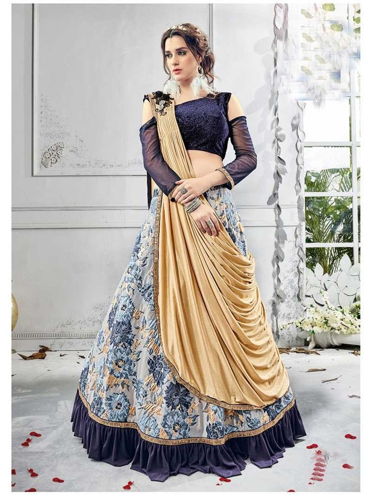 4f879371db2f1 Designer Indo western Bridal Party wear Fashionabl Lehenga Choli with  Dupatta  Shoppingover  LehengaCholi