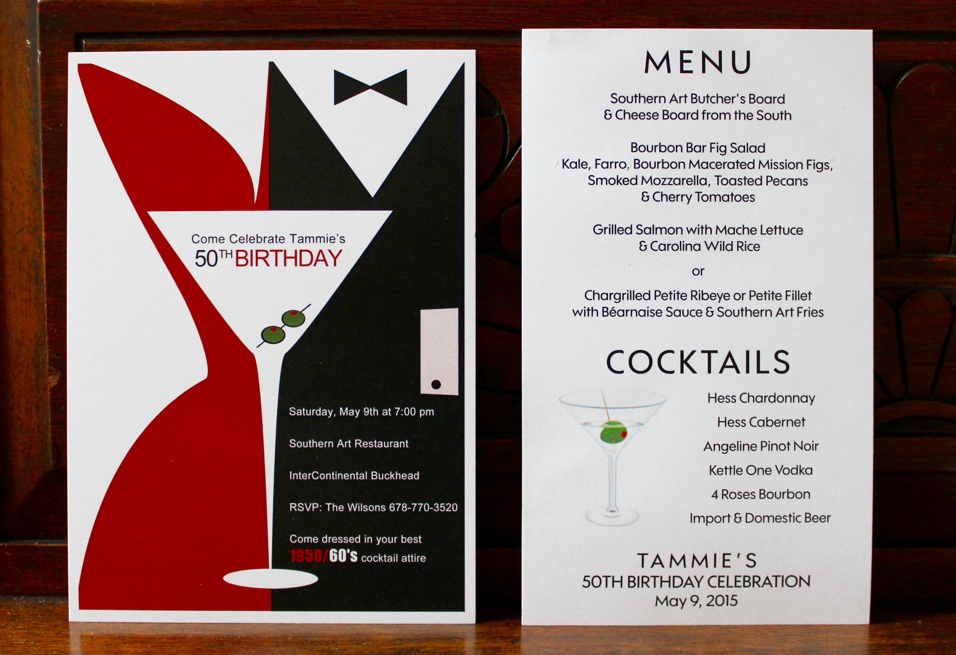Mad Men Themed 50th Birthday Party Invitation & Menu - By The Party ...