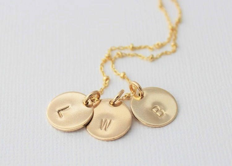mothers necklace, kids name necklace, gift for girlfriend, initial necklace, personalized tag, gold necklace, handstamped, gift idea for her
