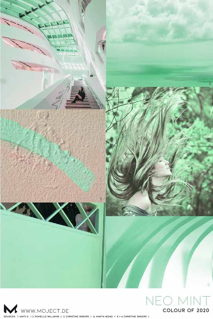 Moodboard neo mint as inspiration for fashion, WGSN colour ...