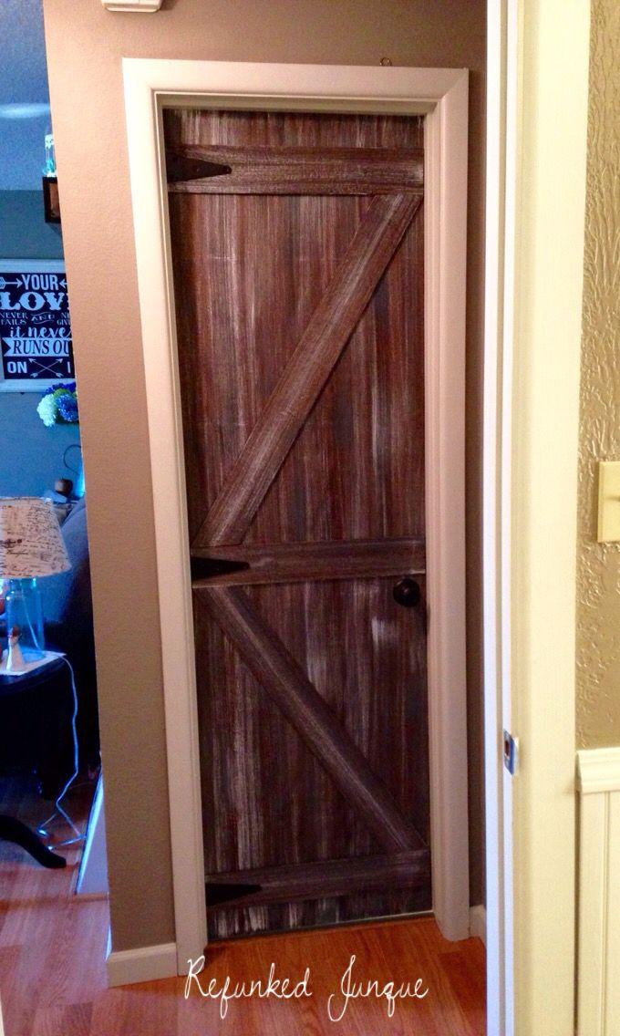 Hollow Core Door To A Faux Barn Door Hollow Door Makeover Hollow Core Door Makeover Interior Barn Doors Diy