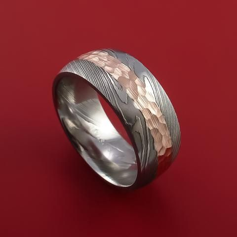 Damascus Steel 14K Rose Gold Ring Wedding Band Custom Made Hammer