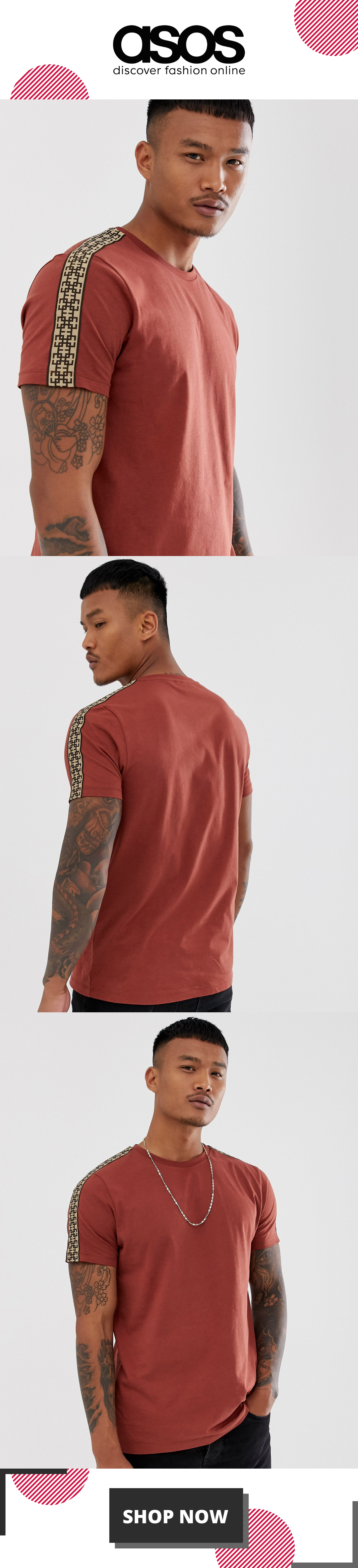 ASOS DESIGN t-shirt with geo taping in brown