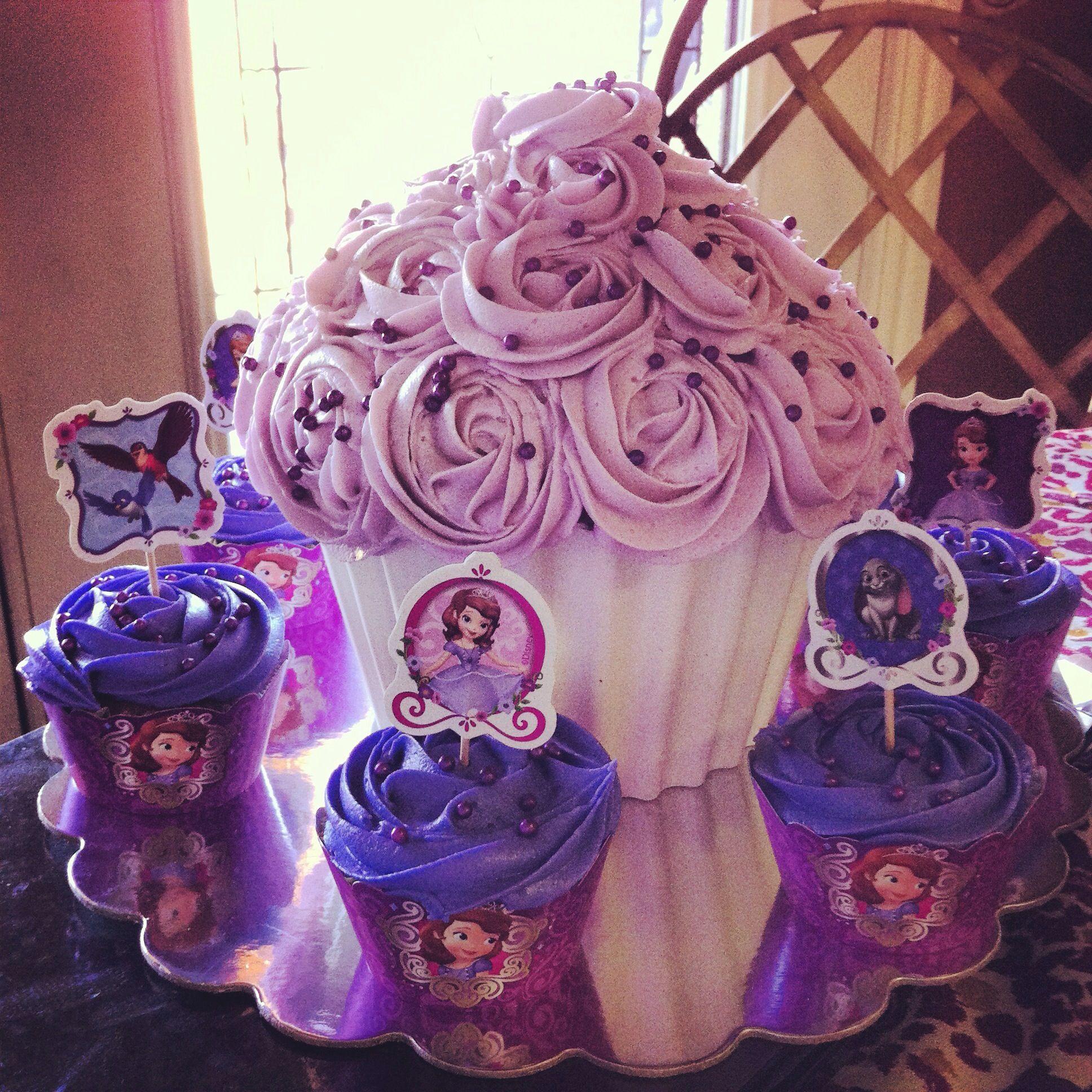 Purple Princess Sophia giant cupcake