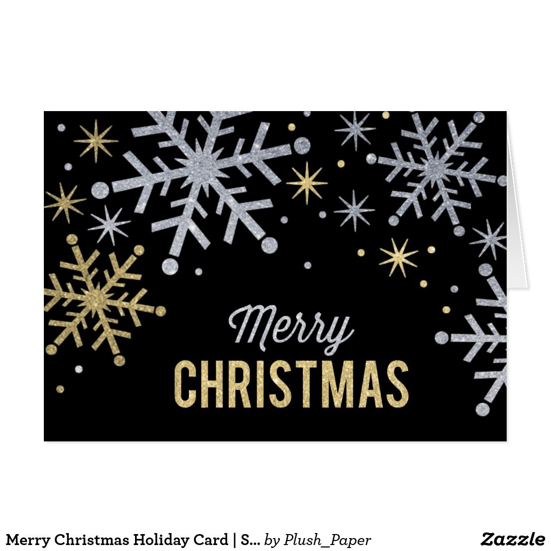 Merry Christmas Holiday Card Silver Gold Sparkle Festive Folded